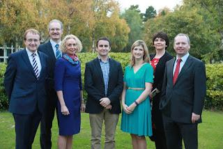 L to R: PJ Rudden UCD EGA President, Prof David Fitzpatrick Dean of Engineering, Anne O' Leary CEO Vodafone Ireland, Ronan Harris Vice President Google EMEA, Dr Helen McBreen, Investment Director Atlantic Bridge, Prof Orla Feely UCD Vice President & Dr Brian Motherway CEO SEAI